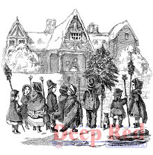 Deep Red Cling Stamp 3X3 - Christmas Carolers UTGÅENDE