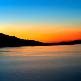 Porterville Lake by Eleazar Valdez - Landscapes Sunsets & Sunrises ( calm, water, peaceful, relax, sunset, california, lake, sunlight )