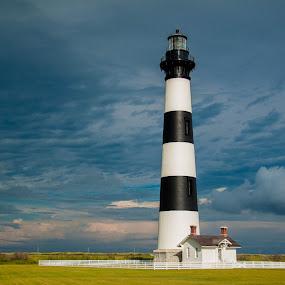 Bodie Island Light by Angela Moore - Buildings & Architecture Public & Historical ( landmark, blue sky, lighthouse, historic, north carolina )