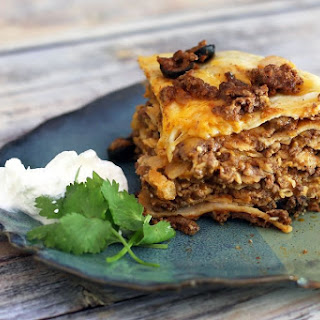 Slow Cooker Taco Stack with Ground Beef.