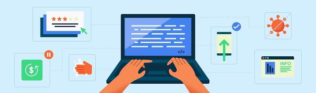 노트북으로 타이핑하는 사람과 양 옆에 기술 관련 아이콘이 있는 그림