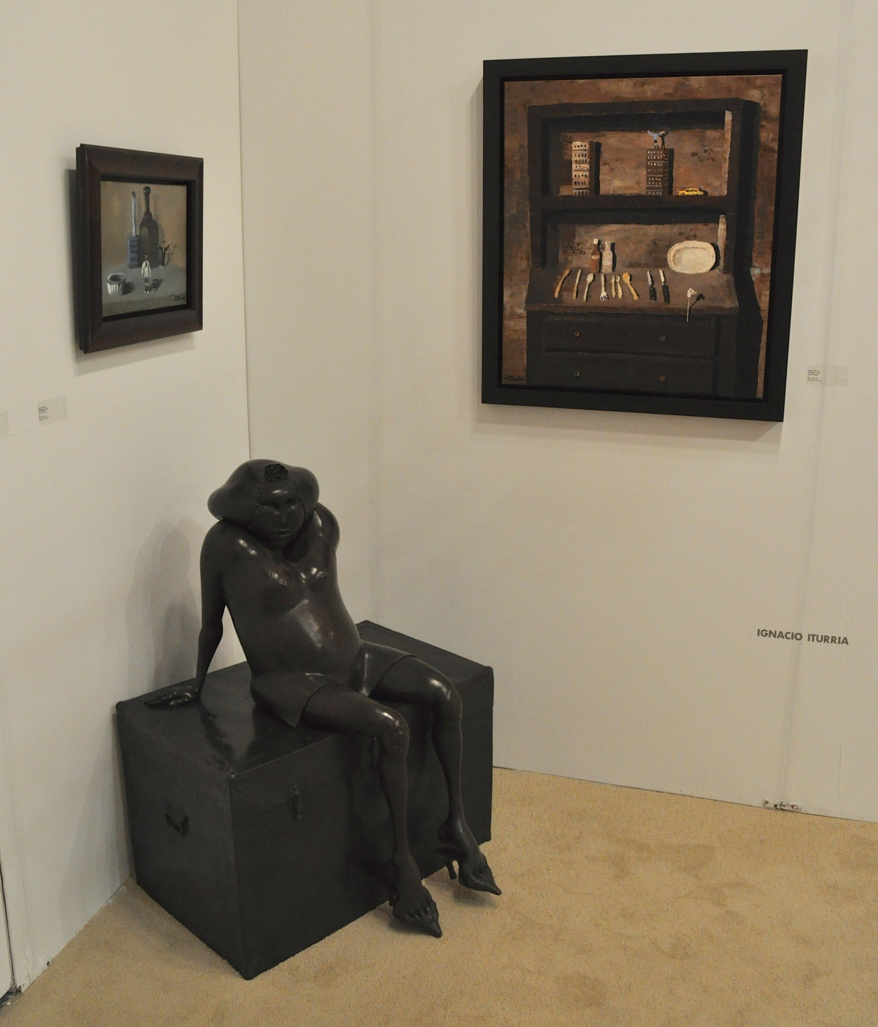 Photo: Woks by Ignacio Iturria (paintings) and Cornelis Zitman (sculpture) at Ascaso Gallery