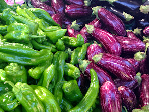 Photo: Peppers and aubergines