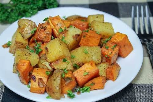"""Roasted Yukon Gold and Sweet Potatoes""""I began roasting more of my vegetables..."""