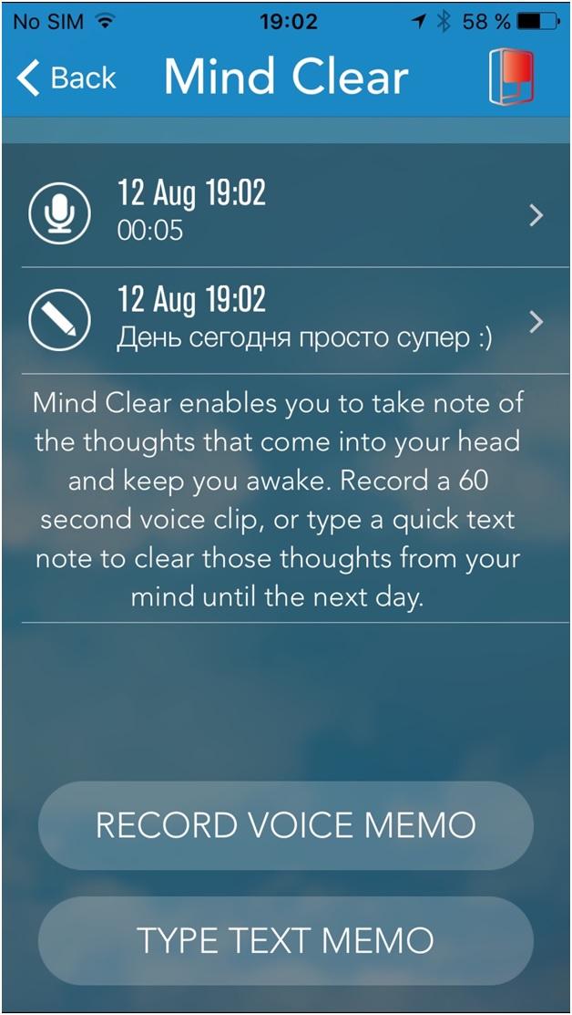 Mind Clear: опция в S+ Res Med для записи заметок перед сном