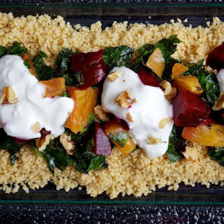 Couscous With Beets, Greens and Garlic Yogurt.