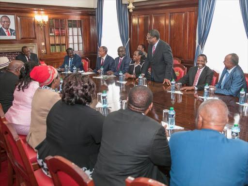 Busia Senator Amos Wako speaks on September 21, 2018 when President Uhuru Kenyatta met the Building Bridges team at State House.