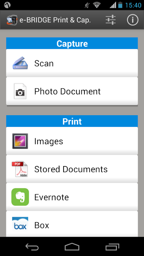 e-BRIDGE Print & Capture- screenshot