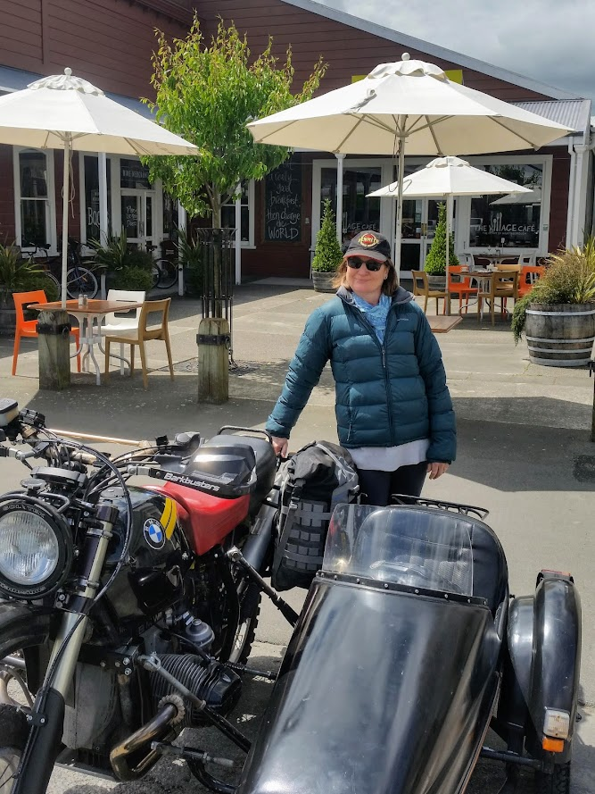 Exterior Village Cafe Martinborough & R100GS with Velorex sidecar