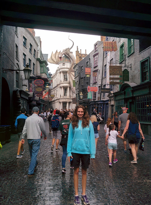 Looking down the fabulously wonky Diagon Alley.