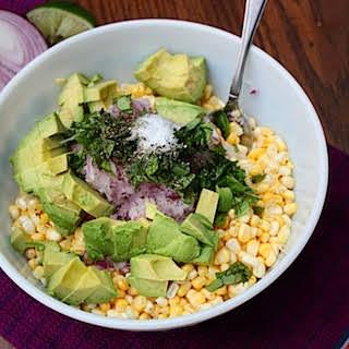 Raw Corn and Avocado Salad.