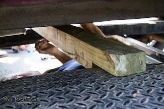 Photo: . . . . improvising transmission supports . ..