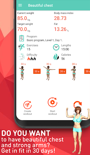 Upper body workout for women - Beautiful breast Fitness app screenshot 1 for Android