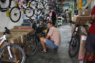 Photo: Year 2 Day 108 -  Rog and Big Boy in the Bike Shop in Georgetown