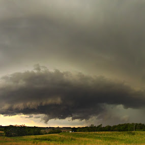 Death of the Apocalypse - Panorama by Evan Ludes - Landscapes Weather ( thunder, sky, thunderstorm, chasing, apocalypse, chase, supercell, storm, nebraska, panorama )