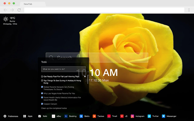 Yellow Rose Pop Flower HD New Tabs Theme