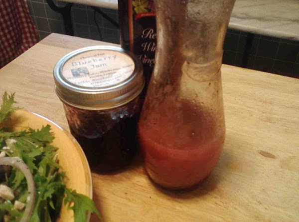 VINEGAR Wisk or shake together vegetable oil, red wine vinegar, blueberry jam or perserves, S&P  This...