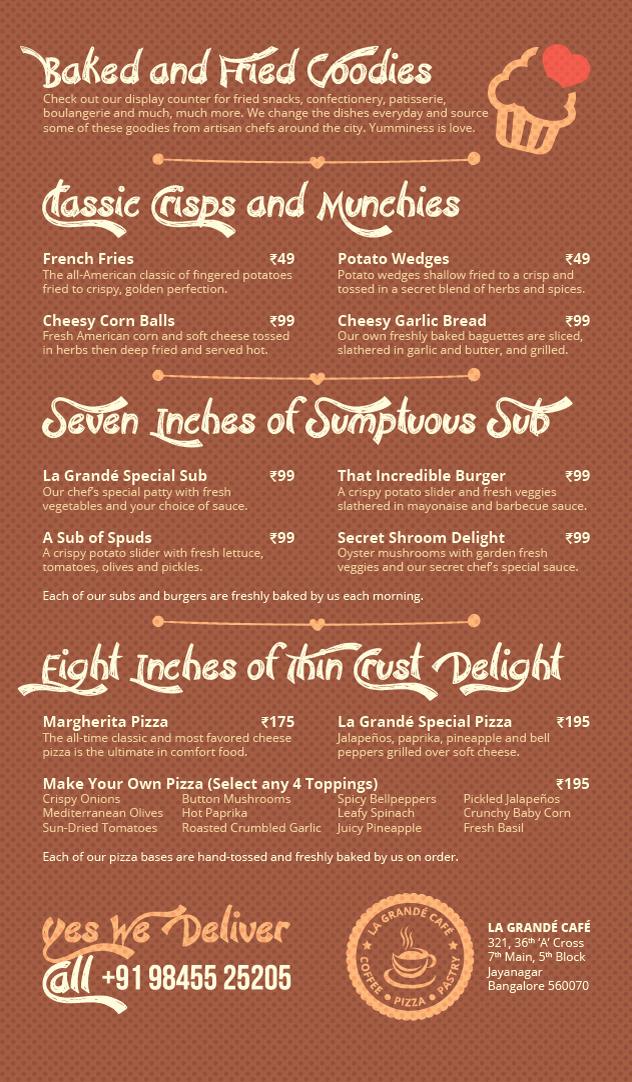 La Grande Cafe menu 2
