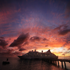 Sunset at Roseau port by Tadas Jucys - Landscapes Sunsets & Sunrises ( port, red, sky, majestic, dominica, roseau, island,  )