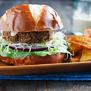Savory Lentil-Mushroom Burgers.