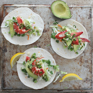 Lobster Tacos with Warm Scallion Butter.