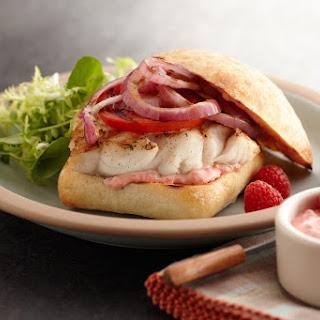 Rock Cod Sandwich with Raspberry-Chipotle Mayo.