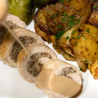 Stuffed Chicken Breasts with Crème Dijon Wine Sauce.