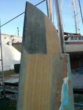 Photo: starboard side upper layer 1708 cloth sanded