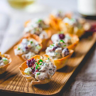 15 Minute Chicken Salad Bites With Cranberries And Walnuts.