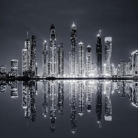 Dubai Marina Skyline B/W by Dmitriy Andreyev - Black & White Buildings & Architecture