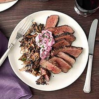 Petite Filets with Spicy Pink Creme Fraiche & Shoestring Mushrooms.