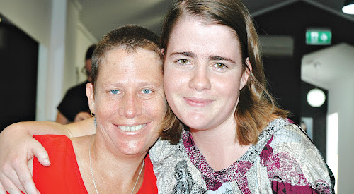 Tracey Fing with friend Imogen Bunner after the event. Ms Bunner's mother Patricia 'Tate' Bunner was one of the people Ms Fing decided to shave her hair in tribute to.