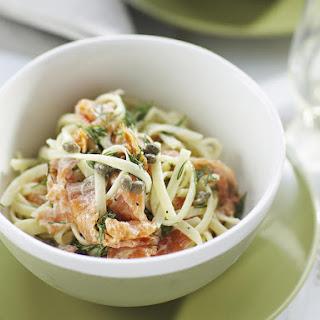 Linguini with Smoked Salmon and Cream Sauce.