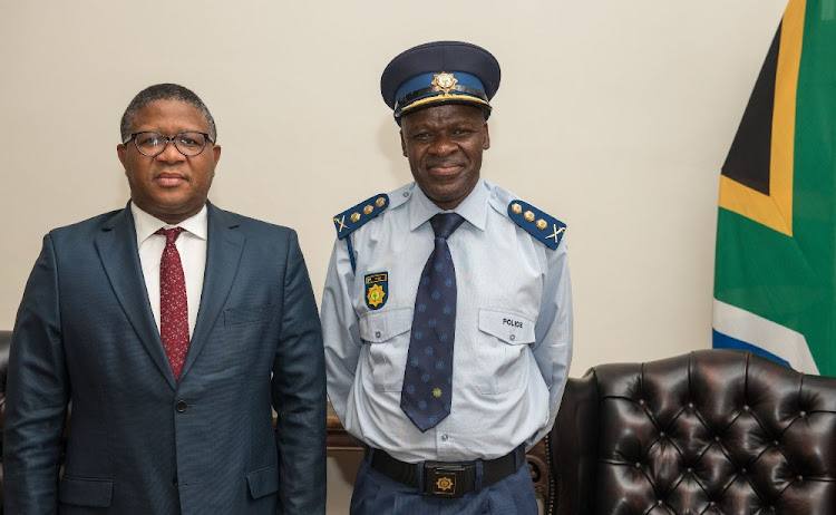 Minister of Police Mr Fikile Mbalula with National Police Commissioner General Khehla John Sitole. File photo.