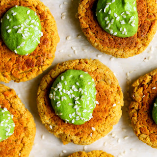Baked Carrot Falafel with Green Tahini