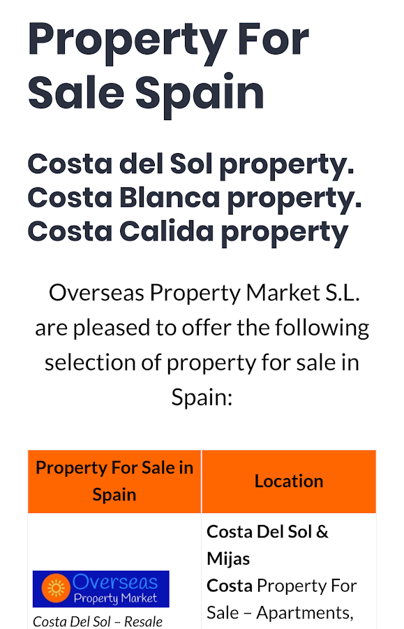 Costa Del Sol Property- screenshot