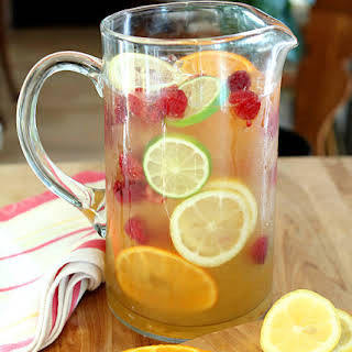 Vodka and Limoncello Sangria with Raspberries.