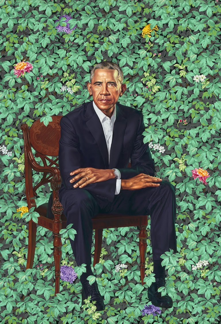 Kehinde Wiley painted the ex-president against a signature lush botanical backdrop.