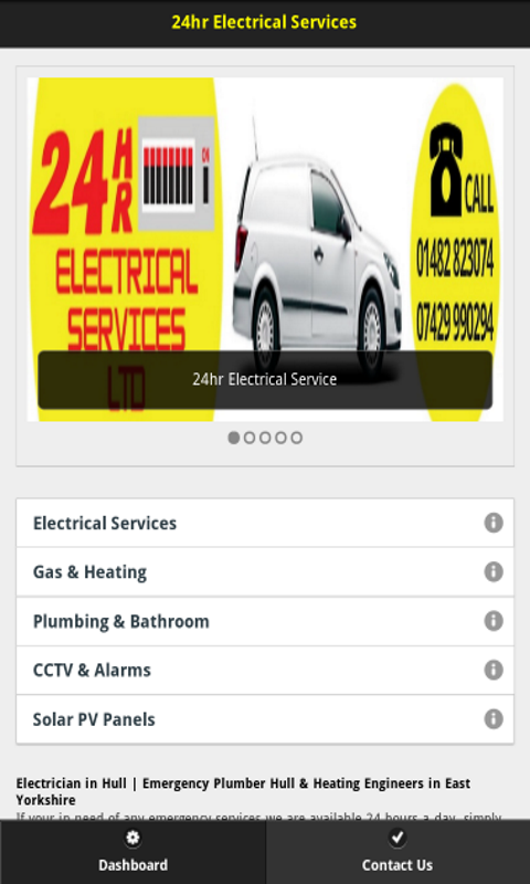 24hr Electrical Services App- screenshot