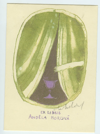 018. Bookplate. ANDĚLA HOROVÁ. Goblet with curtain.