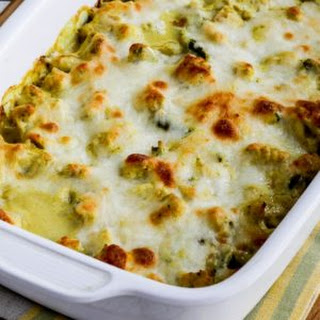 Low-Carb Chicken and Asparagus Bake with Creamy Cheesy Curry Sauce.