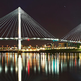 Omaha by Matt Workman - Buildings & Architecture Bridges & Suspended Structures ( water, reflection, skyline, cityscape, bridge, bridges, city, river, nightscape,  )