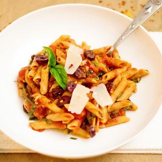 Red Lentil Pasta & No-Cook Tomato Sauce.
