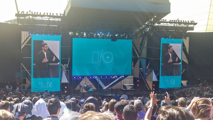 Google CEO Pichai during Google IO keynote at the Amfitheater