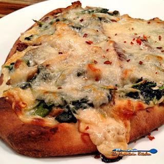 Mushroom-Spinach Alfredo Flatbread Pizza.
