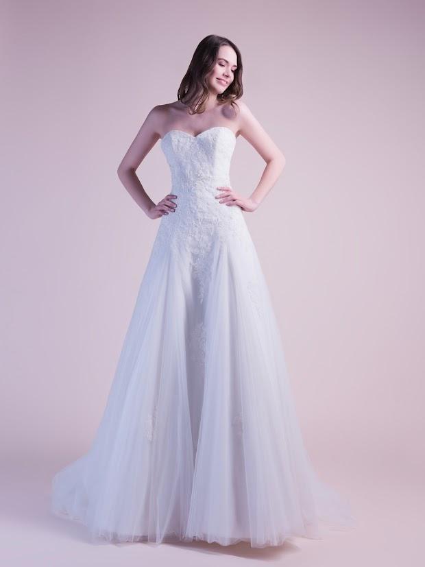 Robe de mariée Daisy, robe de mariée bustier dentelle fine, robe de mariée pas cher, tulle soyeux