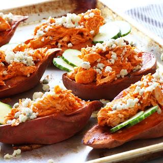 Shredded Buffalo Chicken Sweet Potato Boats.