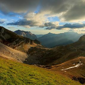 Mangart Saddle by Bor Rojnik - Landscapes Sunsets & Sunrises ( clouds, national park, mountains, mangart, saddle, sunset, triglav national park, slovenia, high, tranquility, julian alps, places )