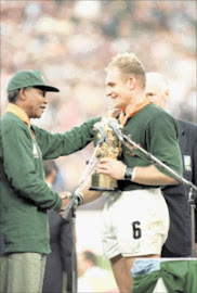 Springbok captain Francois Pienaar receives the William Webb Ellis Trophy from President Nelson Mandela on June 4 1995 after South Africa had defeated New Zealand to lift the rugby World Cup at Ellis Park in Johannesburg