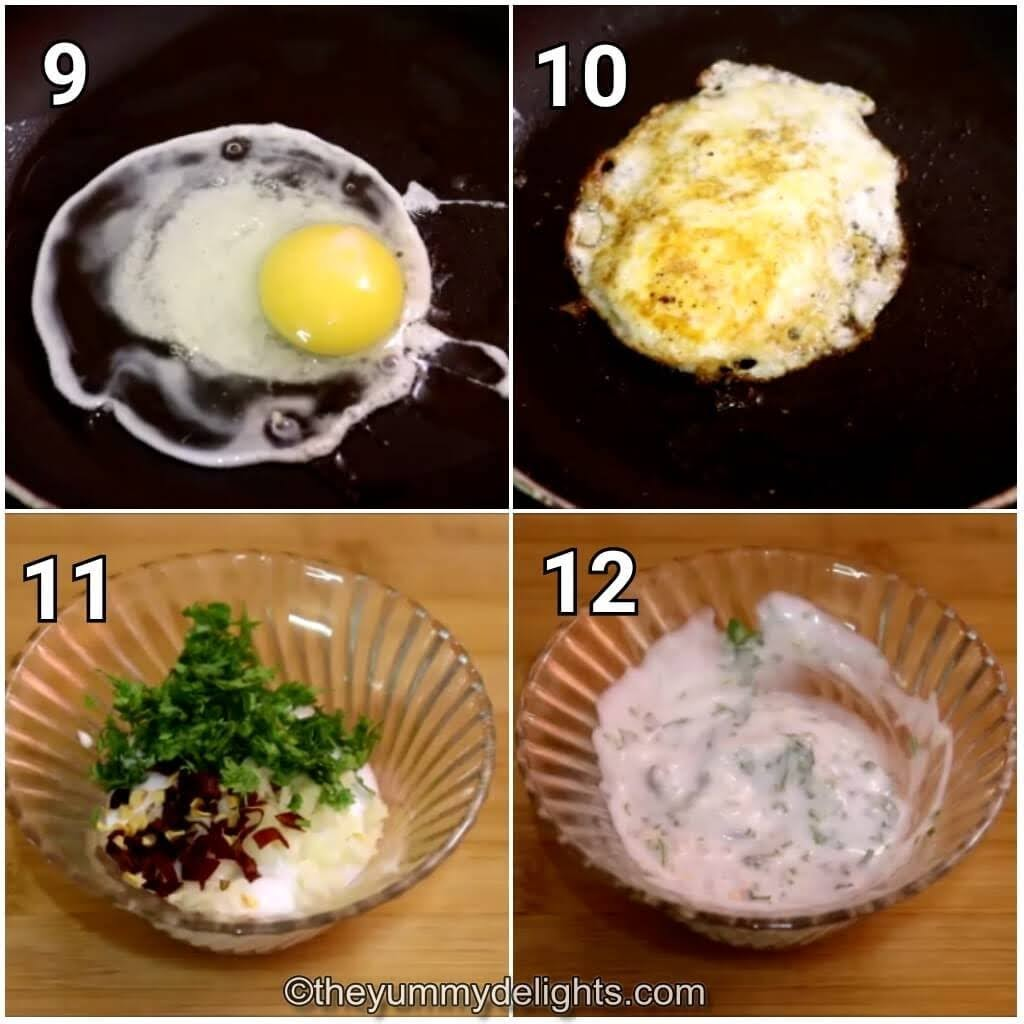 step by step image collage of making fried eggs and mayo spread for the chicken sandwich